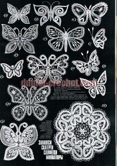 Duplet 191 Ukrainian Russian new crochet patterns magazine book January February 2017 Crochet Butterfly Pattern, Crochet Flowers, Crochet Lace, Russian Crochet, Irish Crochet, Freeform Crochet, Crochet Stitches, Bobbin Lace Patterns, Crochet Patterns