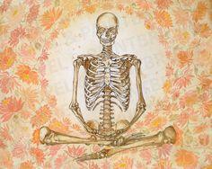 "12""x15"" The White Skeleton Meditation - Spine, skeleton, meditation, creative anatomy, illustration, yoga art, watercolor, print by ScalpelAndPaintbrush on Etsy https://www.etsy.com/listing/213105941/12x15-the-white-skeleton-meditation"