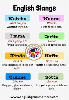 Slang English, Learn English Grammar, English Writing Skills, English Idioms, English Phrases, Learn English Words, American Slang Words, British Slang Words, American English Words