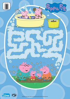 "Your little one will love this ""a-maze-ing"" Peppa Pig activity! Help Peppa find her way through the bubble maze for some sudsy fun! Kids Travel Activities, Quiet Time Activities, Preschool Learning Activities, Toddler Activities, Pig Crafts, Crafts For Kids, Peppa Pig Bubbles, Peppa Pig Books, Peppa Pig Printables"