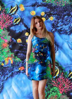 Seapunk Dolphin Ocean Print Spaghetti Strap Dress Colorful Dress Printed Dress Blue Coral Dress Tropical Summer Dress Photorealistic Dress