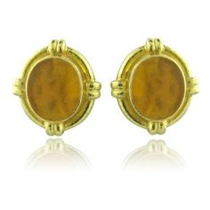 Estate Elizabeth Locke 18k Gold Intaglio Earrings