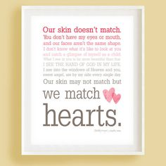 Items similar to We Match Hearts - Pink Ombre Typography Wall Art - Adoption Quote on Etsy We Match Hearts - Ombre Typography Wall Art - This just made my heart smile. If I ever adopt a kid, this is going in there room :) Daughter Quotes, Mother Quotes, Mom Quotes, To My Daughter, Wisdom Quotes, Daughters, Auntie Quotes, Sister Poems, Sister Quotes