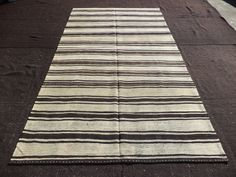 "Black And White Rug,5,9""x11"" Feet 176x336 Cm Stripe Pattern Turkish Kilim Rug,Flat Weave Kilim Rug,Anatolian Area Kilim Rug."