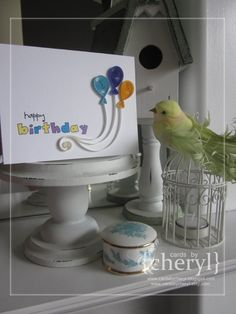 Quilled happy birthday balloons by CardsByCheryl on Etsy, $6.00