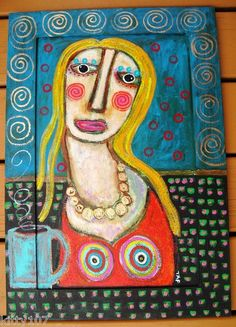 """15x22 Creation On Wood Cabinet Door:  """"Daydreaming Alone""""...hope she makes you smile!"""