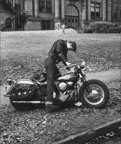 1950sunlimited:  High School student on his motorcycle, 1953