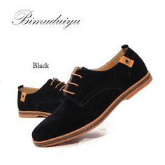BIMUDUIYU Brand Minimalist Design Genuine Suede Leather Men Casual Shoes Hot Sale Flat British Style Oxford Shoes Big Size