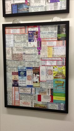 Ticket stub frame - finally a good use for the hundreds of ticket stubs I've saved.