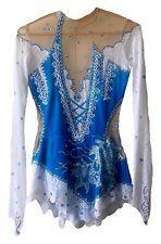 Rhythmic Gymnastics Leotard Handmade Crystals Swarovski White Blue