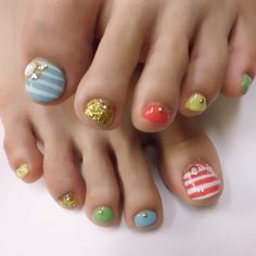 Pedicure, Toe Nail Art: blue, gold, red, green and stripes