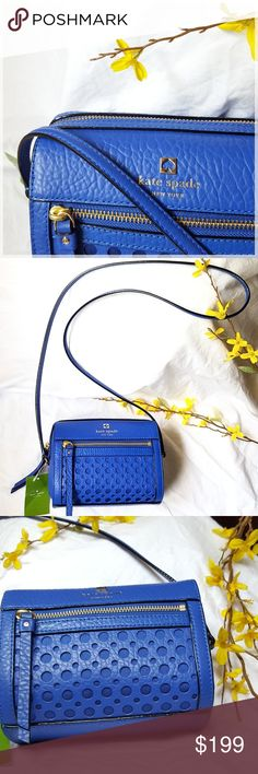 NWT KATE SPADE PERRI LANE CROSSBODY BAG This Kate Spade Perri Lane Bubbles Looloo Crossbody is made of grained Leather and Gold hardware. There is a zip pocket on the front, a flat leather strap, a top zip closure and one interior slip pocket.  🔸️Color name: Island deep/Bright blue 🔸️Measurements: 7 inches wide x 7 inches          high x 3 inches deep 🔸️Handle drop = 22 inches 🔸️Handle Style: Flat Strap 🔸️Handbag Material: Leather kate spade Bags Crossbody Bags