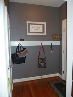 Shelf/hooks for the back door since there is no closet.