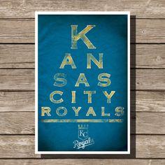 Kansas City Royals Poster Baseball Art Eyechart MLB Man Cave Sports Print (multiple sizes)      8 x 10 inches 11 x 14 inches  12 x 16 inches  16 x