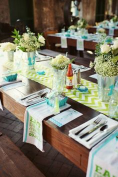Fun Spring Wedding with Apple Green Chevron Table Runners