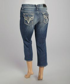 Love this Medium Wash Flap-Pocket Capri Jeans - Plus by Vigoss on #zulily! #zulilyfinds