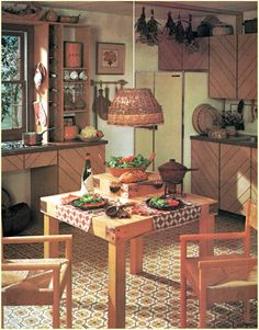 Scratch the super loud tile floor. But small table and chairs with wicker light is nice for breakfast nook. 1970s Kitchen