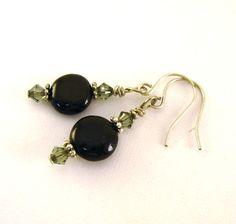 Black Coin Earrings  Black Diamond Swarovski by CinLynnBoutique, $17.00