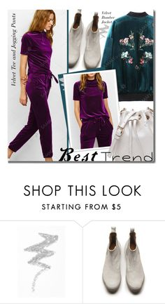 """""""Velvet"""" by beebeely-look ❤ liked on Polyvore featuring NYX, TRACEY NEULS, velvet, sammydress, bomberjackets, embroidery and besttrend2016"""