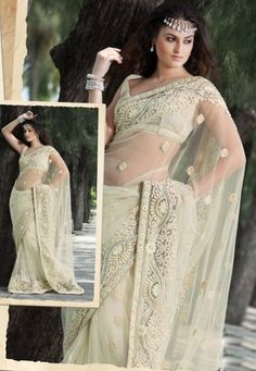 Cream Net Saree With Blouse