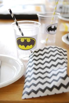 Batman Party...Love the chevron bag and stickers on cups---for Bubba!!!