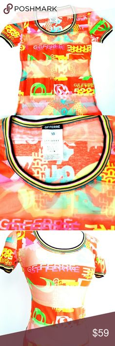 "Gianfranco Ferre Mesh Multicolor Top Authentic Gianfranco Ferre top, multicolor and condition of mesh and cotton, signuture pattern logo, multicolor knit trim, gently used, perfect with white jeans or skirt. Measurements are length 23"" bust 30"" hip 30"" Gianfranco Ferre Tops Tees - Short Sleeve"