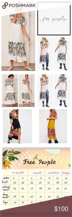 "Free People Jamie Floral Printed Midi Dress.  NWT. Free People Jamie Floral Printed Midi Dress, 100% rayon, machine washable, 16"" armpit to armpit (32"" all around), 27"" waist no stretch, 48"" length, empire silhouette, bodice and hem filled with vibrant blooms, pullover style, midi surplice neckline, ruched sleeves, unlined,  lightweight crepe, pleat at back yoke and loose fitting sleeves, exposed buttons at front, measurements are approx. NO TRADES Free People Dresses Midi"