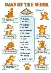 English worksheet: DAYS OF THE WEEK! - CLASSROOM POSTER FOR KIDS