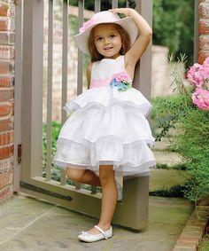 Another great find on #zulily! Cream & Pink Tiered Sash Dress - Infant, Toddler & Girls #zulilyfinds