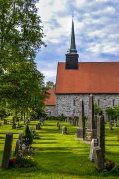 Stone church at Stiklestad, Nord-Trøndelag, Norway. The village is known as the site of the Battle of Stiklestad on 7/29/1030. Stiklestad Church is assumed to have been erected on the spot where King Olaf II Haraldsson fell in the battle. The king was buried in Nidaros, canonised there on 8/3/1031, and later enshrined in Nidaros Cathedral. Following the Lutheran reformation of 1537 the saint's remains were removed and their precise resting-place has been unknown since 1568. Hans Olav Elsebø…
