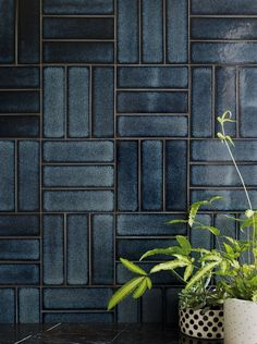 Raku Yokohoma navy blue hand decorated tile shown on the wallYou can find Wall tiles and more on our website.Raku Yokohoma navy blue hand decorated tile shown on the wall Brick Tiles, Stone Tiles, Yokohama, Motif Art Deco, Fireclay Tile, Blue Tiles, Wall And Floor Tiles, Patterned Wall Tiles, White Wall Tiles
