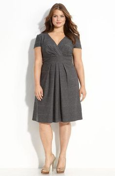 A perfect dress for my shape, I love the style and the colour. Eliza J Textured Knit Dress Vestidos Plus Size, Plus Size Dresses, Plus Size Outfits, Xl Mode, Mode Plus, Curvy Fashion, Plus Size Fashion, Trendy Dresses, Casual Dresses