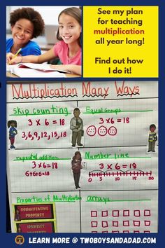 Teaching multiplication in third grade should be planned over the entire year. Sure, we initially teach the concept, use hands-on activities to problem solve and then practice. But, how do we get students to multiplication fluency? That involves teaching strategies, memorization, practice, games, learning the properties of multiplication and even homework. Learn more about my year long plan for helping students learn multiplication and achieve fluency. #twoboysandadad Math Tips, Teaching Strategies, Student Learning, Teaching Math, Learning Multiplication Facts, Standards For Mathematical Practice, Teaching Addition, Teaching Numbers, Common Core Math