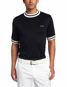 Arnie golf Men's Short Sleeve Solid Mock Neck with Contrast Trims, Black, Small by Arnie golf. $15.09. 95% Polyester 5% Spandex Men's Short Sleeves Quick Dry Mock neck Tee with striped collar, cuffs and front Arnie embroidery. Fabric with Moisture wicking, Anti-pilling, Static and wrinkle resistant