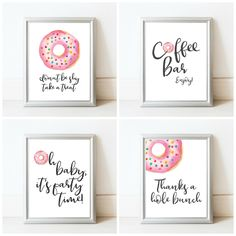 Donut Baby Shower Sign Package - Printable Baby Shower Signs - Donut Decorations - Donut Decor - Donut Party - Digital Download 8x10 Signs by LittleCreekCreative on Etsy https://www.etsy.com/listing/491978752/donut-baby-shower-sign-package-printable