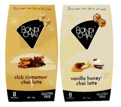 Bondi Chai. It is low in caffeine, 98% fat free, has no trans-fatty acids and is gluten free!