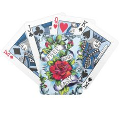 Deck of Cards Tattoo Designs | ... Easy old school tattoo roses and banner Deck Of Cards from Zazzle.com