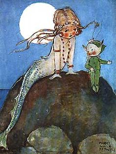 la sirenita/mabel lucie attwell - okay, I'm i love... a mermaid and a pixie!