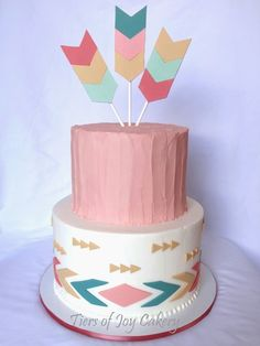 Tribal themed baby shower cake with hand-made fondant arrows.
