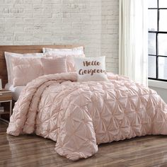 Infuse your bedroom with the prestigious aura of the crisp Brooklyn Loom Jackson Pleat Comforter Set. Crafted from cotton for optimal comfort, this comforter set exhibits a hand-sewn pintuck pleat for a refined, sophisticated look. Light Pink Comforter, Pink Bedspread, Bed Comforter Sets, Rose Gold Comforter, White Bed Comforters, Bedspreads Comforters, Queen Bedding Sets, Dream Rooms, Dream Bedroom