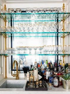 Wet Bar Glass Shelves - Design photos, ideas and inspiration. Amazing gallery of interior design and decorating ideas of Wet Bar Glass Shelves in dining rooms, kitchens, basements, entrances/foyers by elite interior designers. Glass Bar Shelves, Floating Glass Shelves, Window Shelves, Wall Shelves, Kitchen Window Bar, Kitchen Shelf Decor, Kitchen Pantry, Kitchen Cabinets, Kitchen Tips