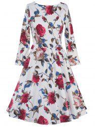 High Waist Long Sleeve Floral Print Dress