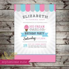 Printable Invitation  Ice Cream Birthday by sophisticatesuite