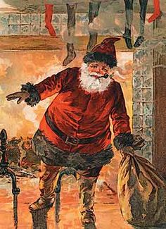Santa warming his butt