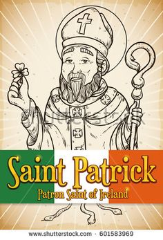 Commemorative poster in hand drawn style with Saint Patrick's image holding a trefoil explaining the Holy Trinity and expelling snakes of Ireland. Patron Saints, Snakes, St Patricks Day, Hand Drawn, Ireland, How To Draw Hands, Royalty Free Stock Photos, Illustration, Happy