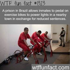 a prison in brazil allows inmates to pedal on exercise bikes to power lights