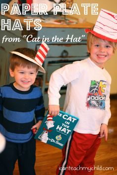 "Make your own ""Cat in the Hat"" Hats using Paper Plates!  SUPER EASY!"