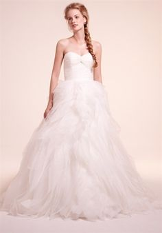 DRESS DETAILS  Silhouette: Ball Gown Neckline: Sweetheart Waist: Basque Gown Length: Floor Train Style: Attached Train Length: Chapel Fabric: Organza Size: 2 - 32 Price: $$$