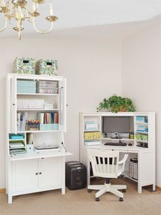 Home Office Furniture: Choosing The Right Computer Desk Hemnes, Ikea Corner Desk, Small Corner Desk, Corner Workstation, Corner Unit, Secretary Desks, Home Office Organization, Organization Ideas, House Inside