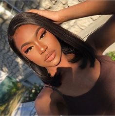Mar 31 2020 - Lace Front Bob Wigs With Baby Hair Inch Density Straight Short Bob Lace Front Human Hair Wigs (. Dark Skin Makeup, Hair Makeup, Black Girl Makeup Natural, Natural Beauty, Makeup Black Women, Black Beauty, Natural Makeup, Eye Makeup, Black Girls Hairstyles